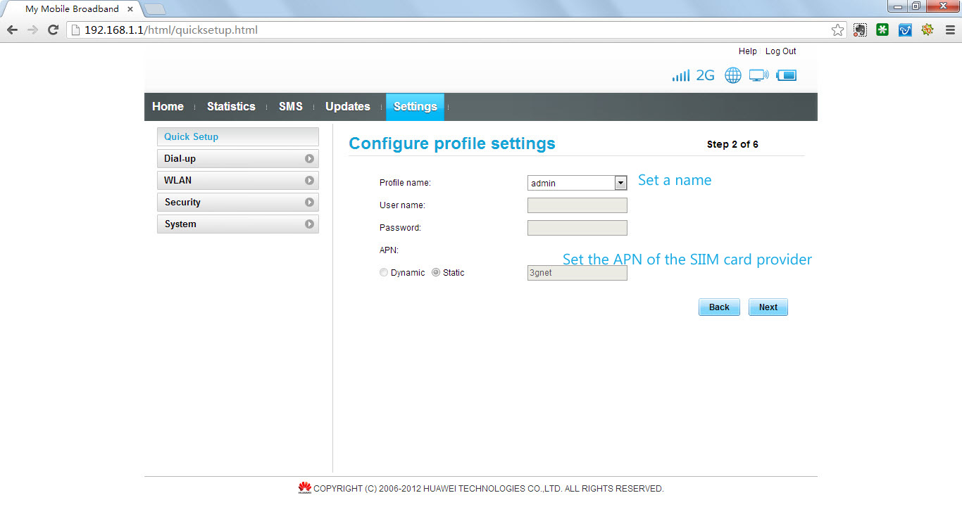 Configuring mobile options