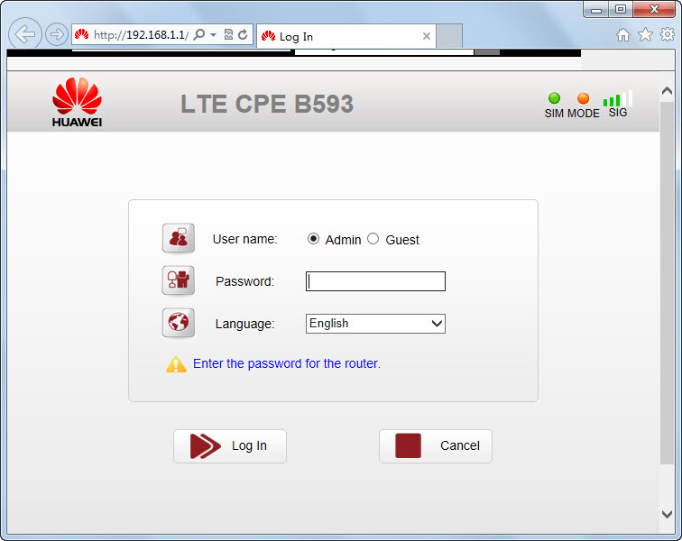 HUAWEI LTE CPE B593 4G Router Installation and Firmware Upgrade