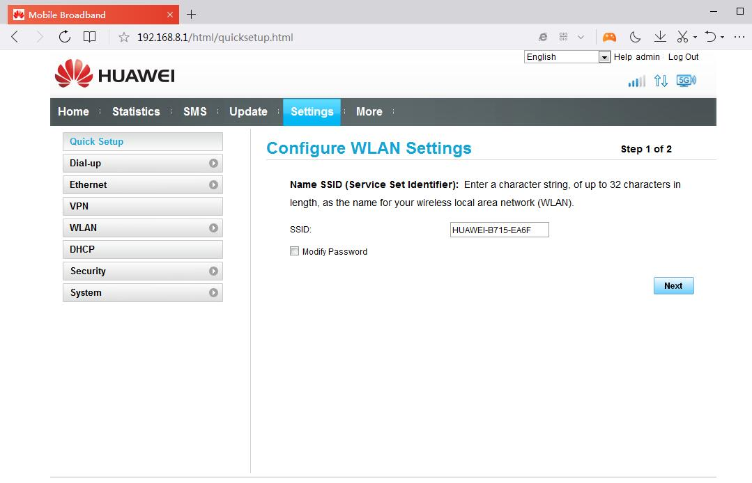Huawei B715s-23c Router Web Interface Setting Options – 4G LTE Mall