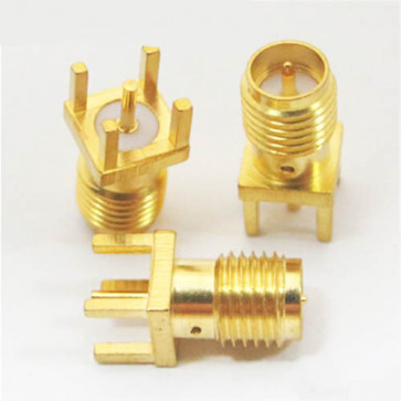 RP-SMA Male Straight Solder PCB Mount Connector