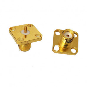 SMA-Female 4 hole Flange Panel Mount Connector