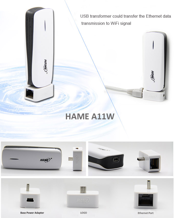 HAME A11W Ethernet cable and power adapter, plug and play