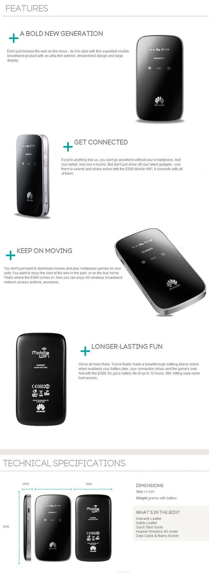 HUAWEI E589 4G LTE Pocket WIFI HOTSPOT