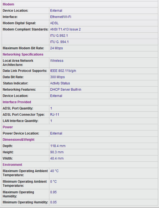 HUAWEI HG521 Specifications
