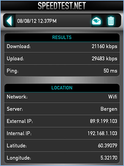 speed test for HUAWEI E589 LTE WIFI ROUTER